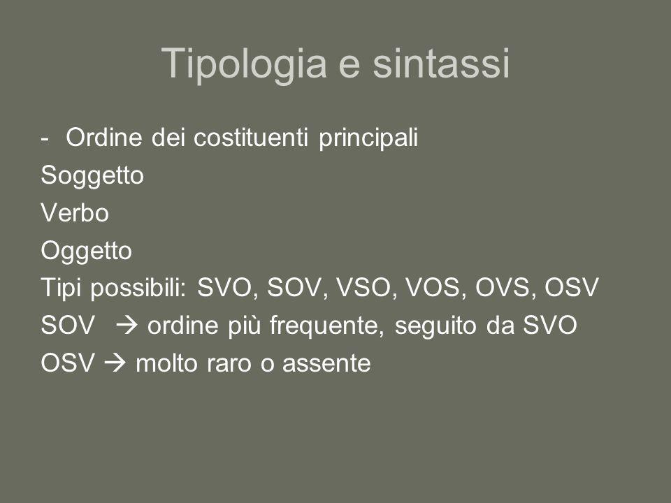 Tipologia e sintassi -Ordine dei costituenti principali Soggetto Verbo Oggetto Tipi possibili: SVO, SOV, VSO, VOS, OVS, OSV SOV  ordine più frequente, seguito da SVO OSV  molto raro o assente