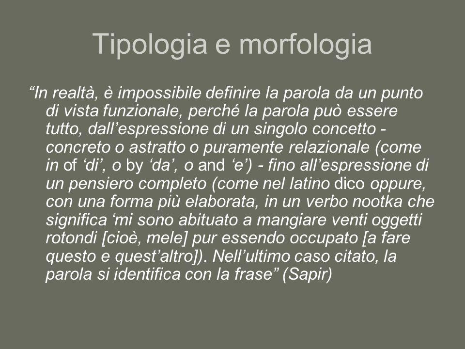 Tipologia e morfologia In realtà, è impossibile definire la parola da un punto di vista funzionale, perché la parola può essere tutto, dall'espressione di un singolo concetto - concreto o astratto o puramente relazionale (come in of 'di', o by 'da', o and 'e') - fino all'espressione di un pensiero completo (come nel latino dico oppure, con una forma più elaborata, in un verbo nootka che significa 'mi sono abituato a mangiare venti oggetti rotondi [cioè, mele] pur essendo occupato [a fare questo e quest'altro]).
