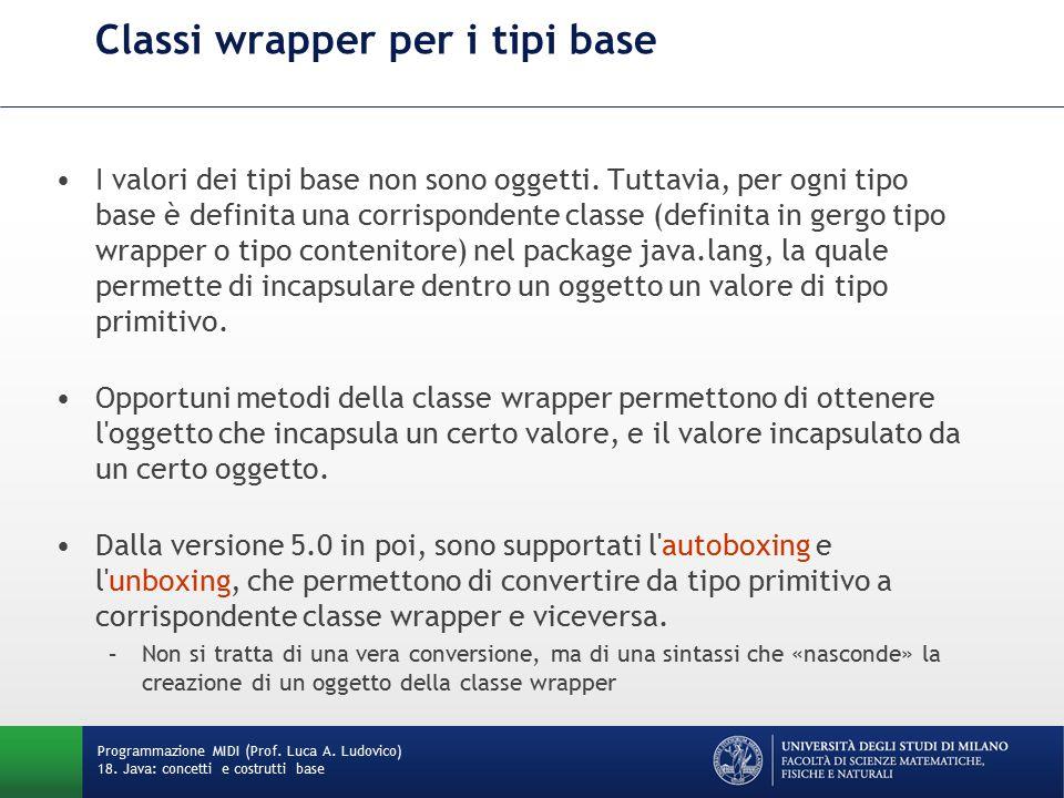 Classi wrapper per i tipi base I valori dei tipi base non sono oggetti.