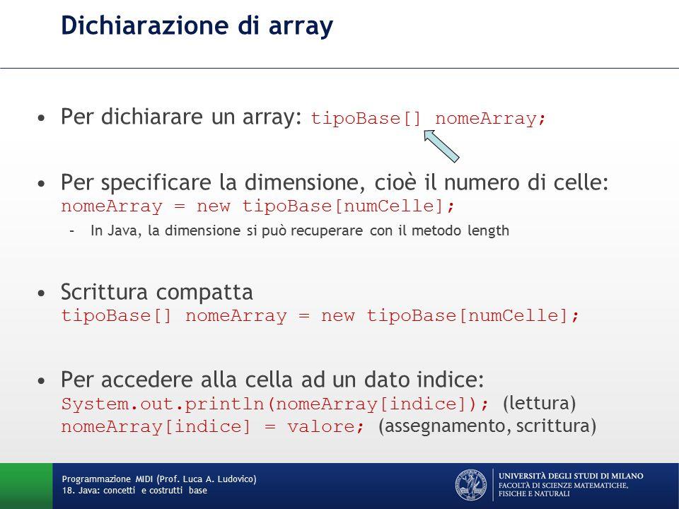 Dichiarazione di array Per dichiarare un array: tipoBase[] nomeArray; Per specificare la dimensione, cioè il numero di celle: nomeArray = new tipoBase[numCelle]; –In Java, la dimensione si può recuperare con il metodo length Scrittura compatta tipoBase[] nomeArray = new tipoBase[numCelle]; Per accedere alla cella ad un dato indice: System.out.println(nomeArray[indice]); (lettura) nomeArray[indice] = valore; (assegnamento, scrittura) Programmazione MIDI (Prof.