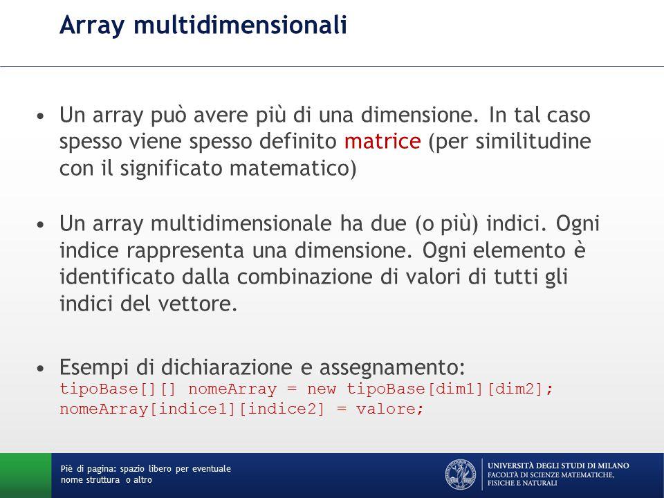 Array multidimensionali Un array può avere più di una dimensione.