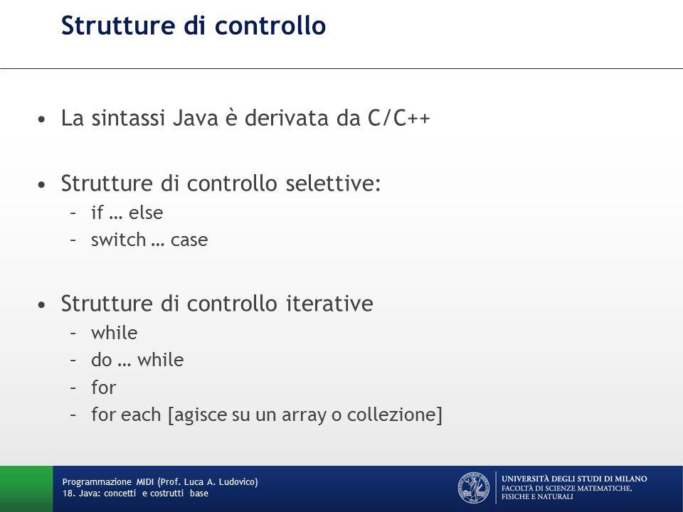 Strutture di controllo La sintassi Java è derivata da C/C++ Strutture di controllo selettive: –if … else –switch … case Strutture di controllo iterative –while –do … while –for –for each [agisce su un array o collezione] Programmazione MIDI (Prof.