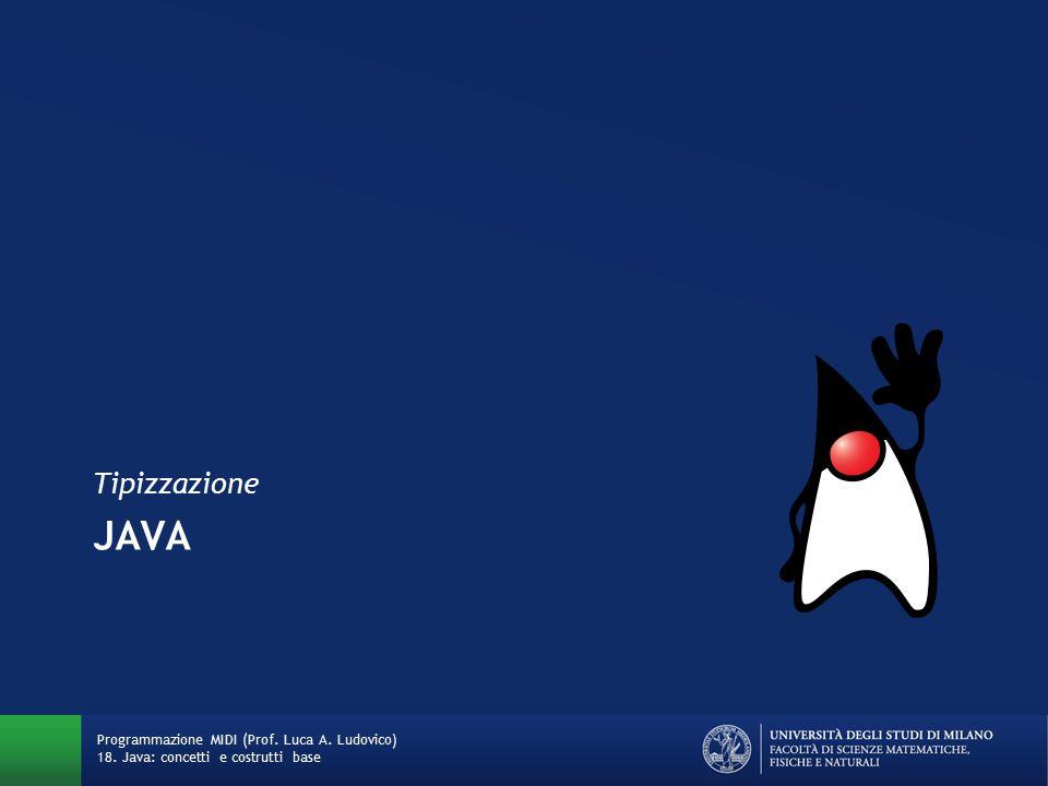 Tipizzazione (type system) Java è un linguaggio «type safe»: previene o avvisa rispetto agli errori di tipo Un errore di tipo è un comportamento errato o non desiderabile del programma causato da una discrepanza tra diversi tipi di dato riguardo alle costanti, variabili e metodi (funzioni) del programma Un linguaggio è considerato type safe se tutti gli errori di tipo vengono rivelati sempre tramite l'operazione di type check Programmazione MIDI (Prof.