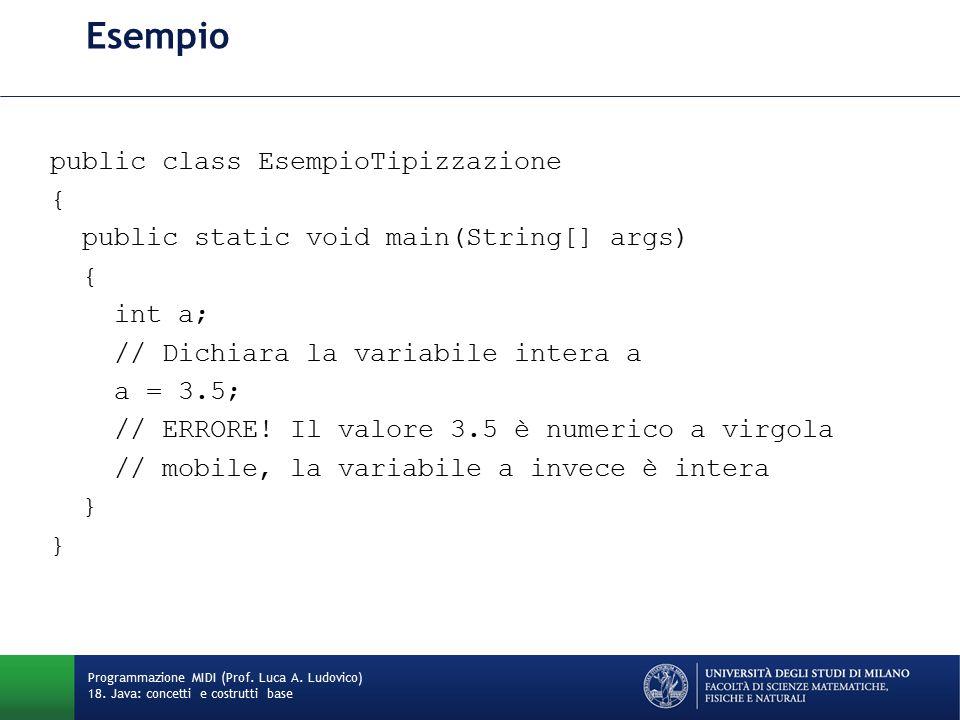 Esempio public class EsempioTipizzazione { public static void main(String[] args) { int a; // Dichiara la variabile intera a a = 3.5; // ERRORE.