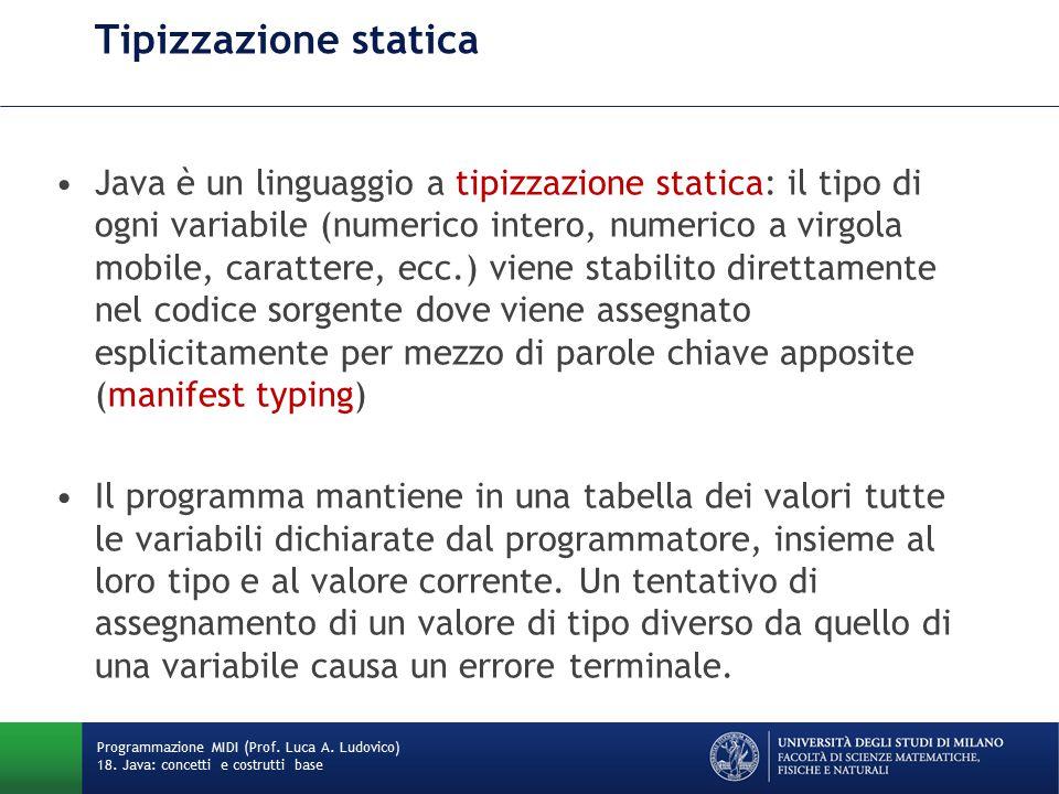 Tipi primitivi e tipi strutturati Il linguaggio distingue: –tipi primitivi (che definiscono valori atomici) –tipi strutturati (che definiscono strutture dati composte).