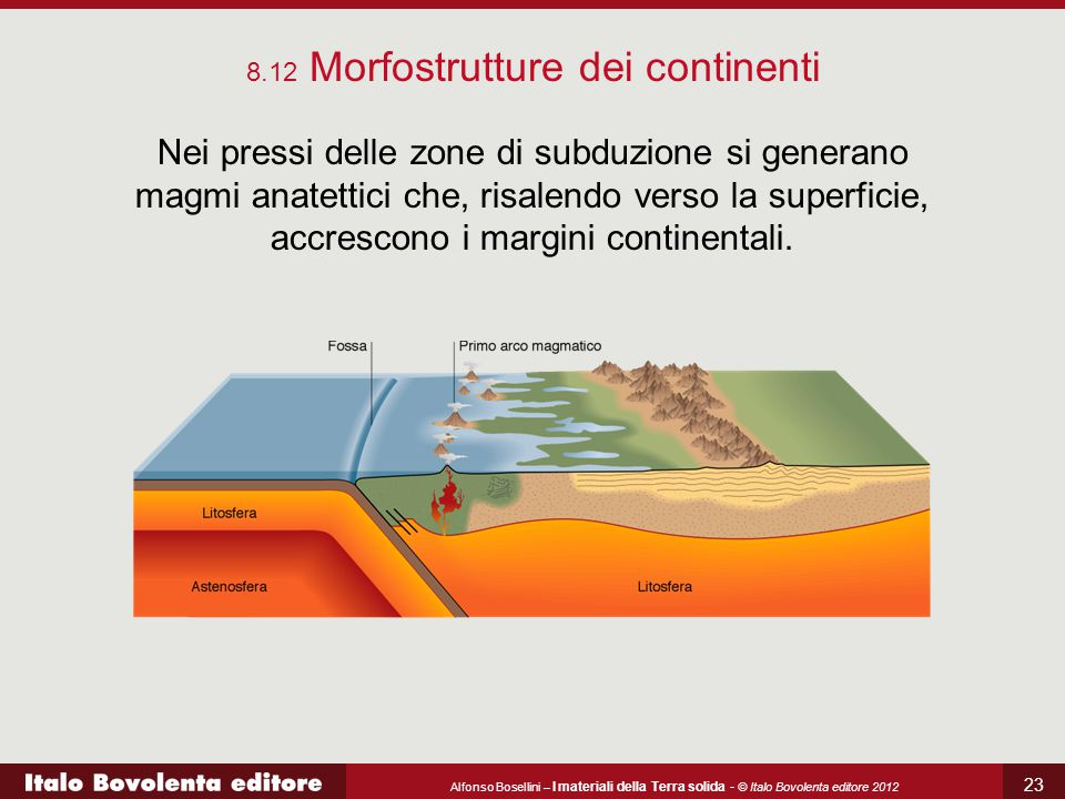 Alfonso Bosellini – I materiali della Terra solida - © Italo Bovolenta editore 2012 23 Nei pressi delle zone di subduzione si generano magmi anatettic
