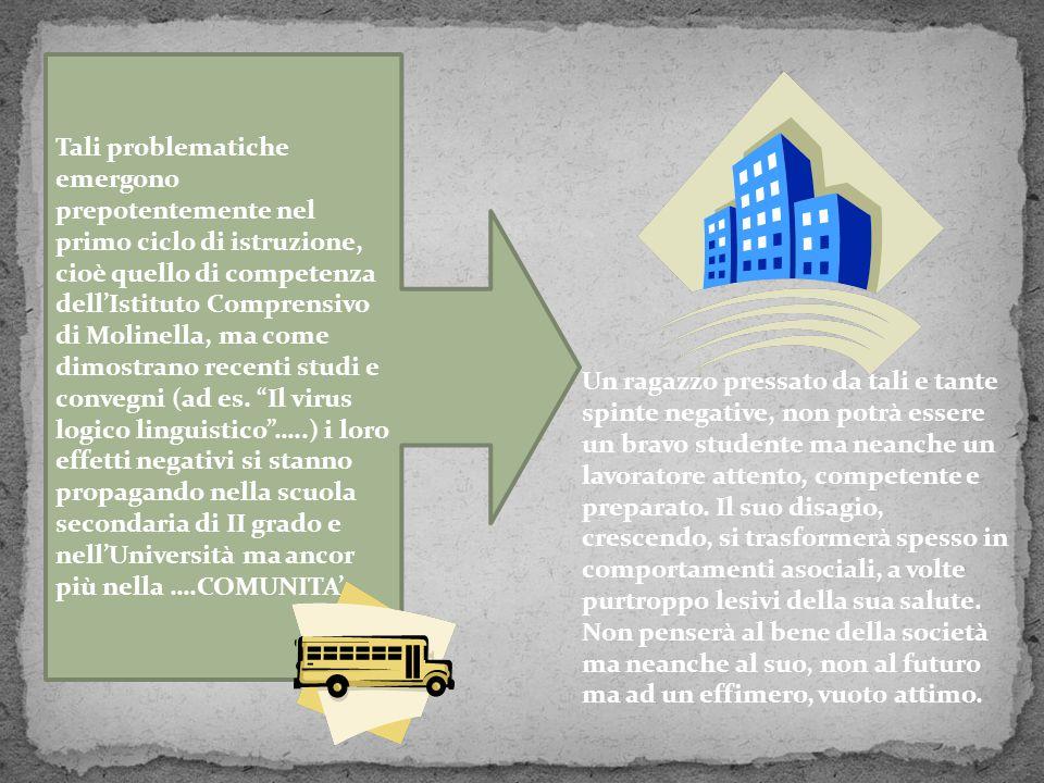 Tali problematiche emergono prepotentemente nel primo ciclo di istruzione, cioè quello di competenza dell'Istituto Comprensivo di Molinella, ma come d