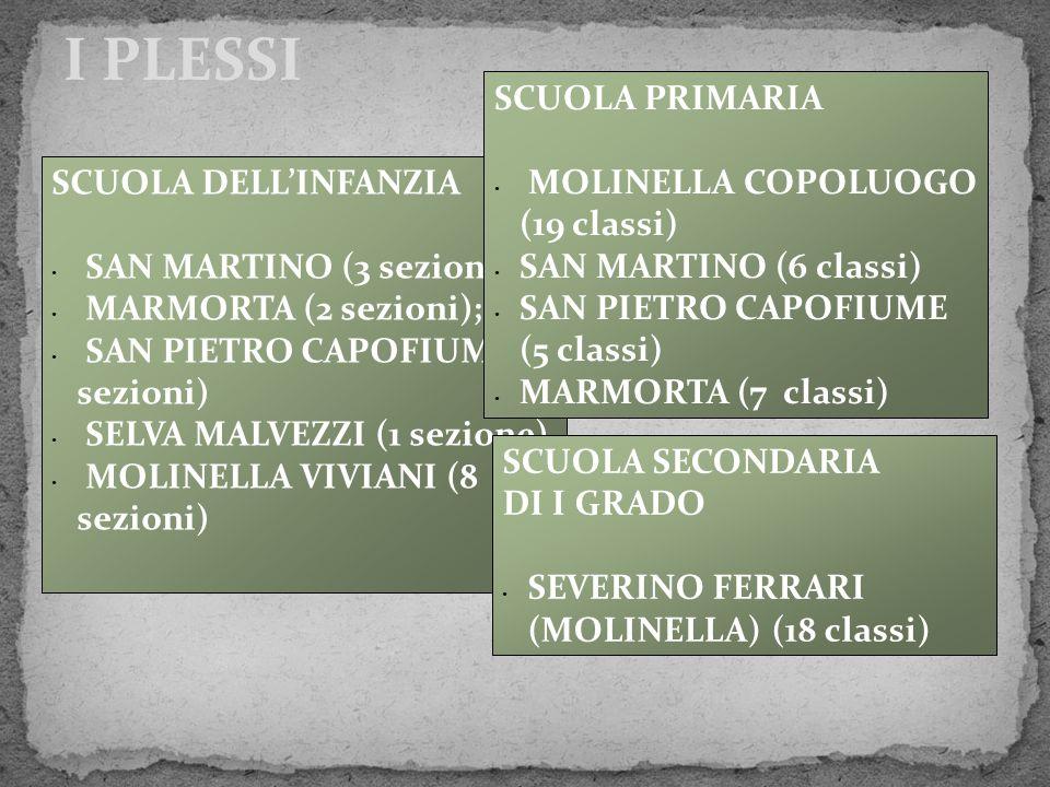 I PLESSI SCUOLA DELL'INFANZIA SAN MARTINO (3 sezioni); MARMORTA (2 sezioni); SAN PIETRO CAPOFIUME (3 sezioni) SELVA MALVEZZI (1 sezione) MOLINELLA VIV