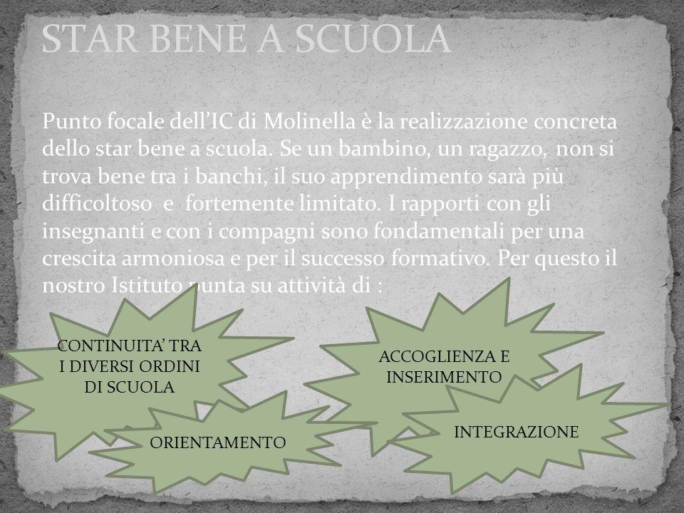 STAR BENE A SCUOLA Punto focale dell'IC di Molinella è la realizzazione concreta dello star bene a scuola. Se un bambino, un ragazzo, non si trova ben