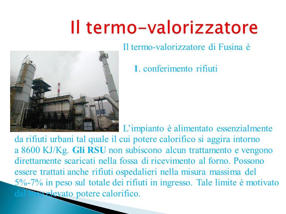 Il termo-valorizzatore Il termo-valorizzatore di Fusina è formato da quattro parti: 1. conferimento rifiuti 2. forno 3. recupero energetico 4. depuraz