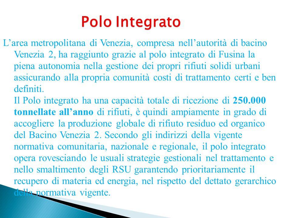L'area metropolitana di Venezia, compresa nell'autorità di bacino Venezia 2, ha raggiunto grazie al polo integrato di Fusina la piena autonomia nella