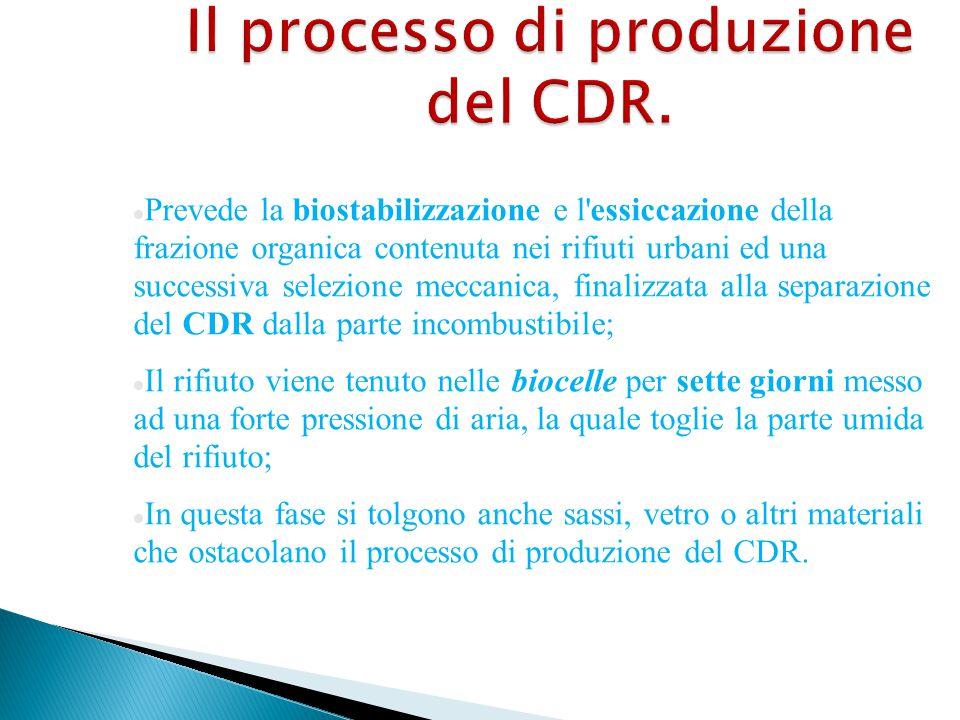 Il processo di produzione del CDR. Prevede la biostabilizzazione e l'essiccazione della frazione organica contenuta nei rifiuti urbani ed una successi