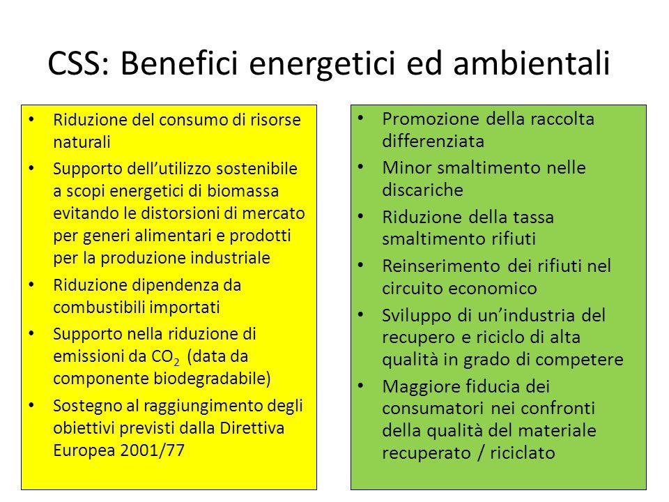 CSS: Benefici energetici ed ambientali Riduzione del consumo di risorse naturali Supporto dell'utilizzo sostenibile a scopi energetici di biomassa evi