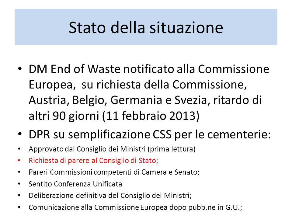 Stato della situazione DM End of Waste notificato alla Commissione Europea, su richiesta della Commissione, Austria, Belgio, Germania e Svezia, ritard