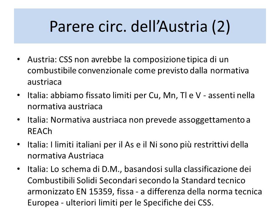 Parere circ. dell'Austria (2) Austria: CSS non avrebbe la composizione tipica di un combustibile convenzionale come previsto dalla normativa austriaca