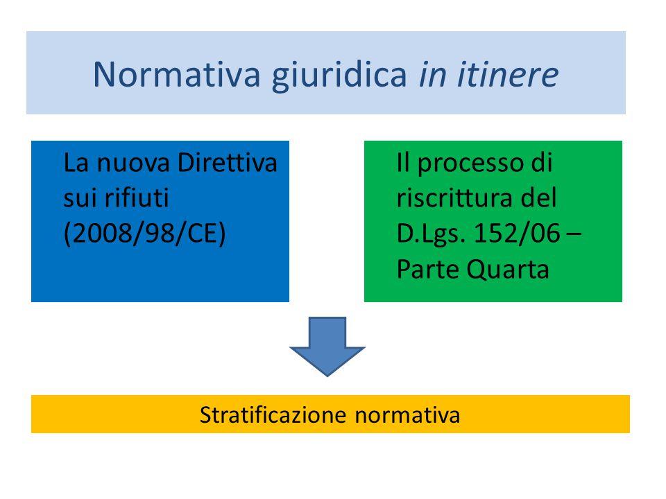 La nuova Direttiva sui rifiuti (2008/98/CE) Il processo di riscrittura del D.Lgs. 152/06 – Parte Quarta Normativa giuridica in itinere Stratificazione