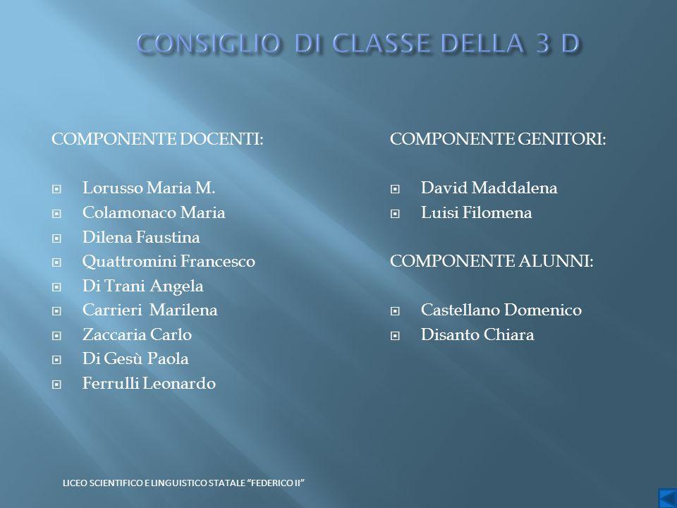 COMPONENTE DOCENTI:  Lorusso Maria M.