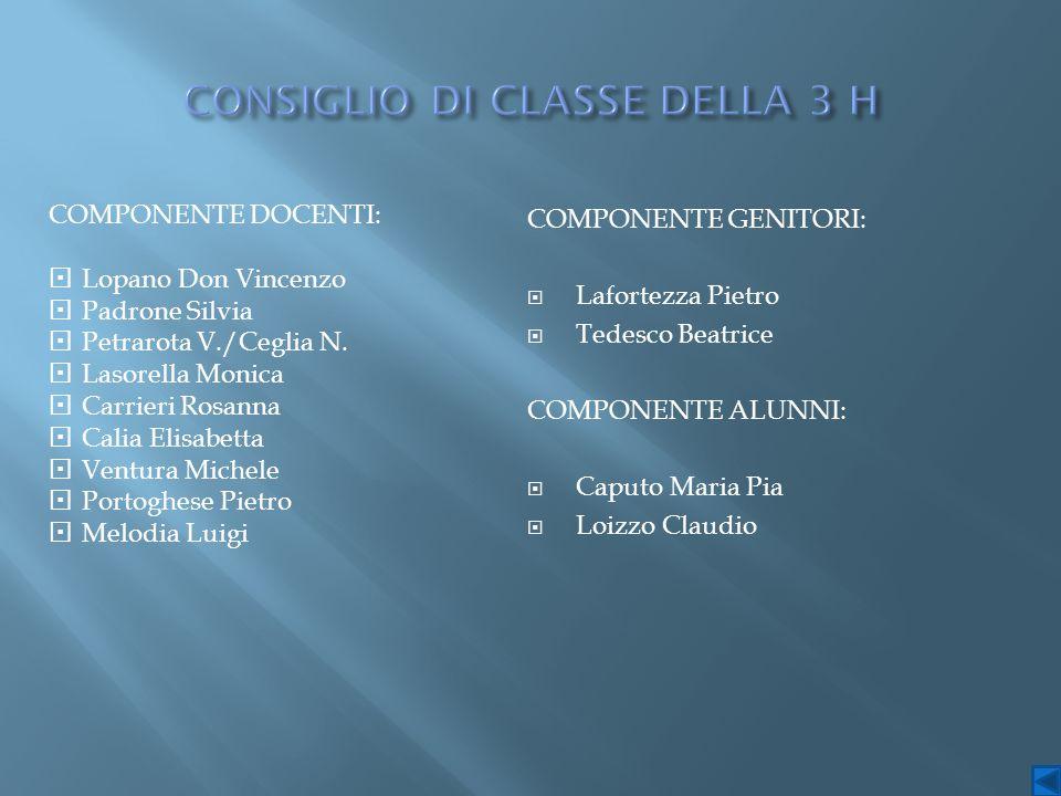 COMPONENTE DOCENTI:  Lopano Don Vincenzo  Padrone Silvia  Petrarota V./Ceglia N.