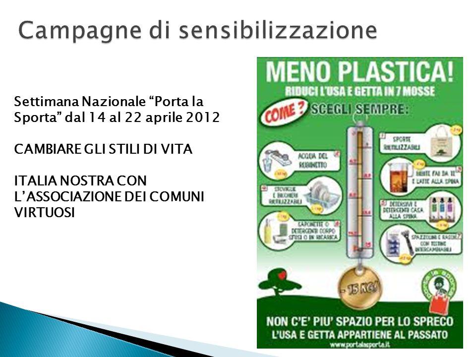 """Settimana Nazionale """"Porta la Sporta"""" dal 14 al 22 aprile 2012 CAMBIARE GLI STILI DI VITA ITALIA NOSTRA CON L'ASSOCIAZIONE DEI COMUNI VIRTUOSI"""
