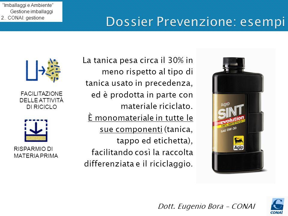 18 Dott. Eugenio Bora – CONAI La tanica pesa circa il 30% in meno rispetto al tipo di tanica usato in precedenza, ed è prodotta in parte con materiale