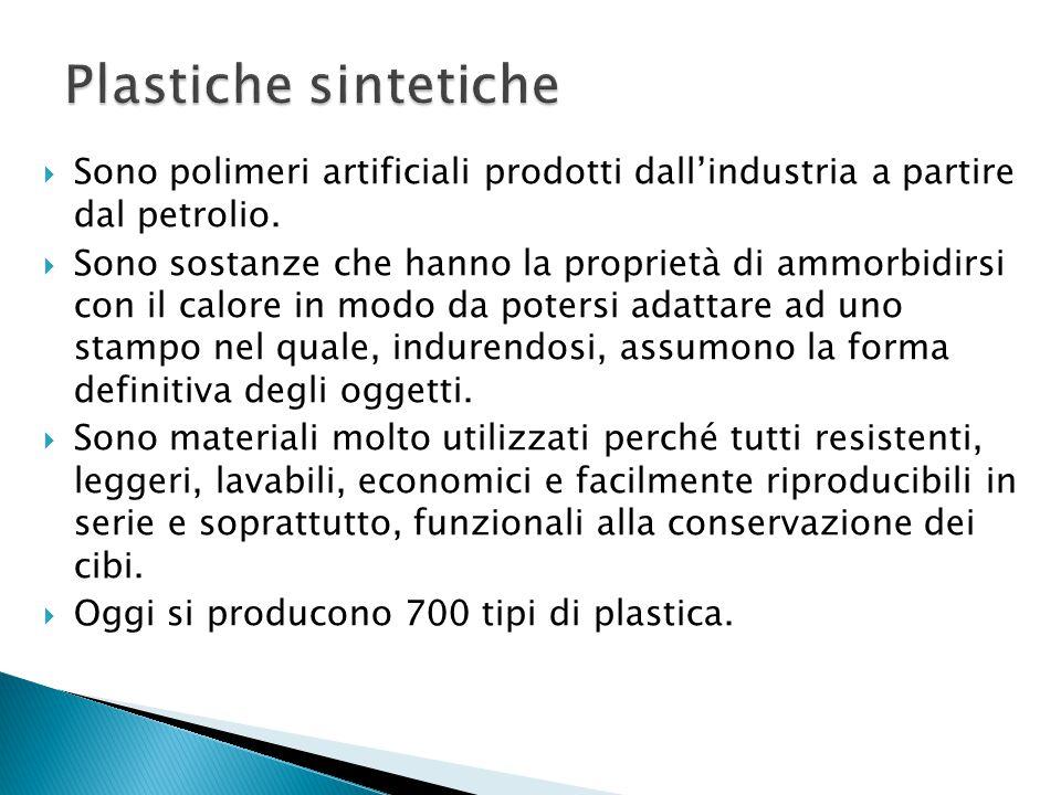  Sono polimeri artificiali prodotti dall'industria a partire dal petrolio.  Sono sostanze che hanno la proprietà di ammorbidirsi con il calore in mo