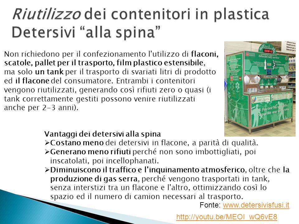 Non richiedono per il confezionamento l utilizzo di flaconi, scatole, pallet per il trasporto, film plastico estensibile, ma solo un tank per il trasporto di svariati litri di prodotto ed il flacone del consumatore.