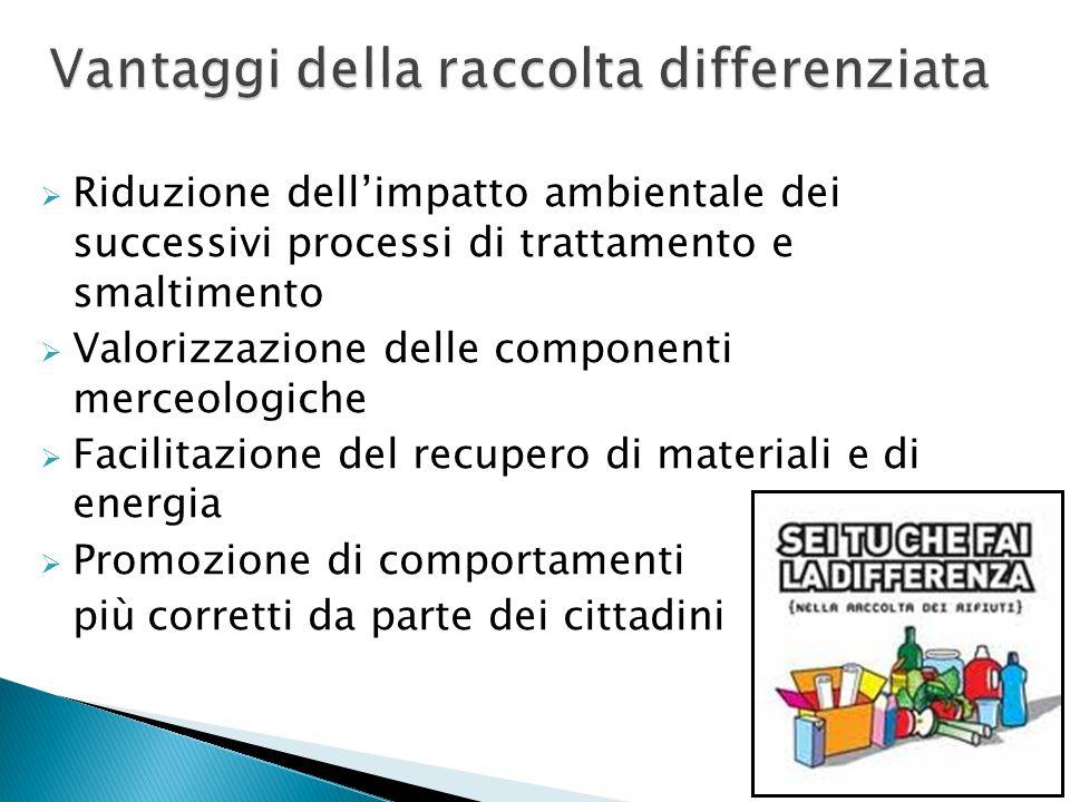  Riduzione dell'impatto ambientale dei successivi processi di trattamento e smaltimento  Valorizzazione delle componenti merceologiche  Facilitazio