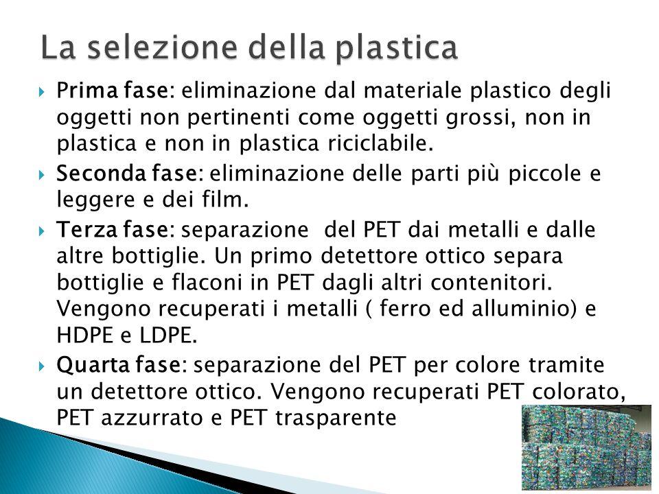  Prima fase: eliminazione dal materiale plastico degli oggetti non pertinenti come oggetti grossi, non in plastica e non in plastica riciclabile.  S