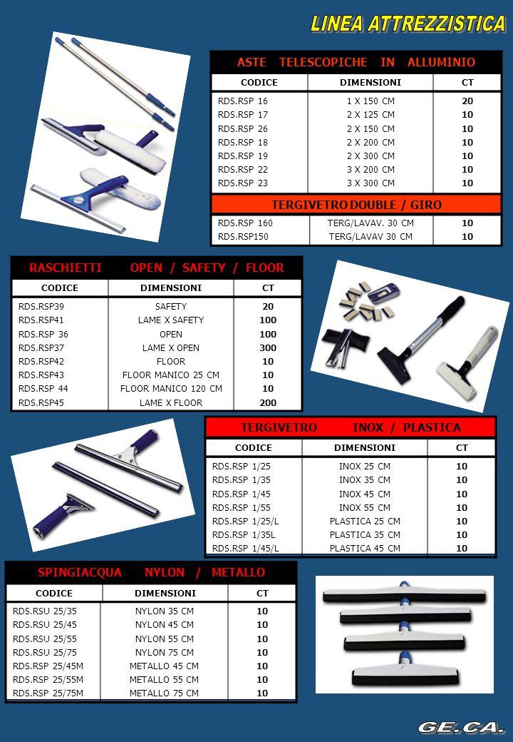 LINEA ATTREZZISTICA RDS.RSR31 RDS.RSR32 RDS.RSR33 RDS.RSR34 40CM 60CM 80CM 100 CM 40 30 RICAMBIO FRANGIA COTONE CON TASCHE CODICEDIMENSIONICT TELAIO IN METALLO C/SNODO PLASTICA RDS.RSR61/P RDS.RSR62/P RDS.RSR63/P RDS.RSR64/P 40CM 60CM 80CM 100 CM 40 25 RDS.RSM106280 GR50 MOP A VITE CODICEDIMENSIONICT MOP SENZA BANDA RDS.RSM111 RDS.RSM112 RDS.RSM113 RDS.RSM114 350 GR 400 GR 450 GR 500 GR 60 50 RDS.RSU AVVVARIE LINGUE5 AVVISO PAVIMENTO BAGNATO CODICEDISPONIB.CT PINZE PER MOP NYLON / INOX RDS.RSM101 RDS.RSM102 GANCI NYLON GANCI INOX 100 RDS.RSP84/70 RDS.RSP84/100 70 CM 100 CM 5555 PINZA PRENSILE CLAMP CODICEDIMENSIONICT STRIZZATORE NYLON RDS.RSA500 STRIZZATORE POLIP.