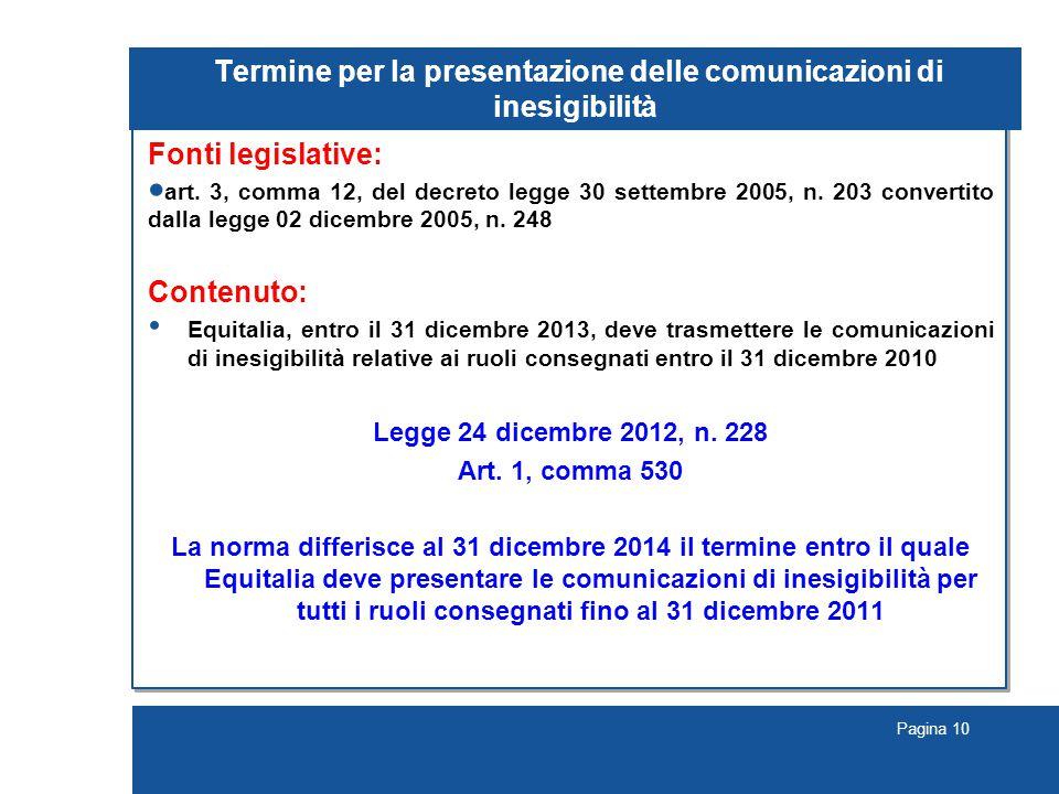 Pagina 10 Termine per la presentazione delle comunicazioni di inesigibilità Fonti legislative:  art.