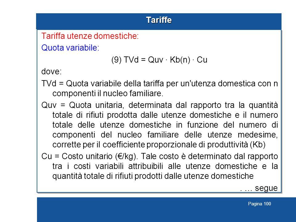 Pagina 100 Tariffe Tariffa utenze domestiche: Quota variabile: (9) TVd = Quv · Kb(n) · Cu dove: TVd = Quota variabile della tariffa per un utenza domestica con n componenti il nucleo familiare.