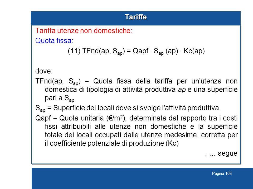 Pagina 103 Tariffe Tariffa utenze non domestiche: Quota fissa: (11) TFnd(ap, S ap ) = Qapf · S ap (ap) · Kc(ap) dove: TFnd(ap, S ap ) = Quota fissa della tariffa per un utenza non domestica di tipologia di attività produttiva ap e una superficie pari a S ap.