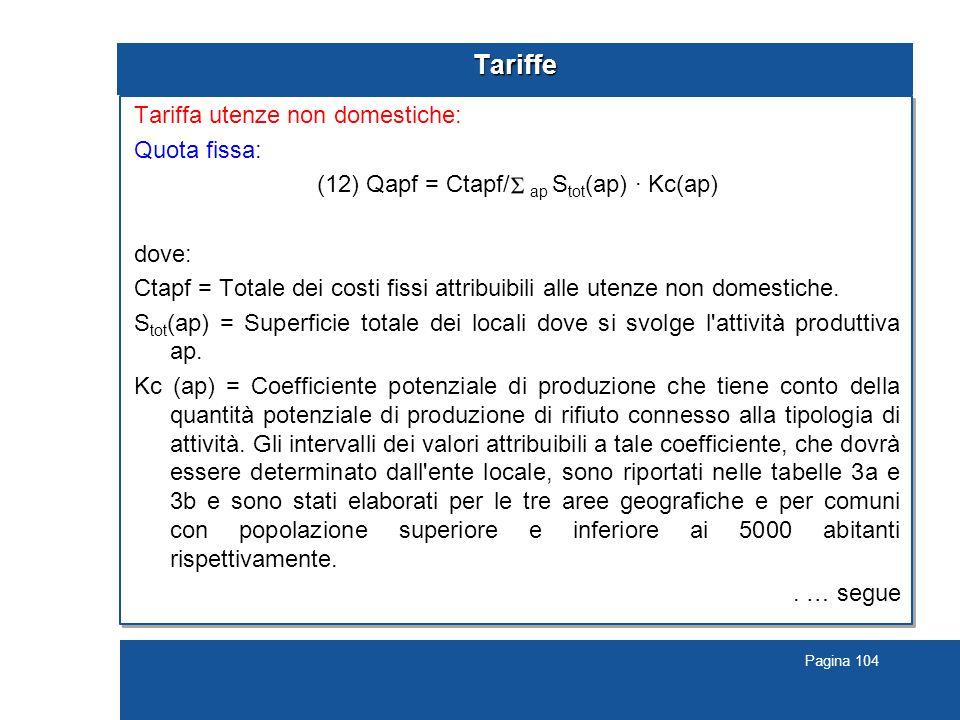 Pagina 104 Tariffe Tariffa utenze non domestiche: Quota fissa: (12) Qapf = Ctapf/ ap S tot (ap) · Kc(ap) dove: Ctapf = Totale dei costi fissi attribuibili alle utenze non domestiche.