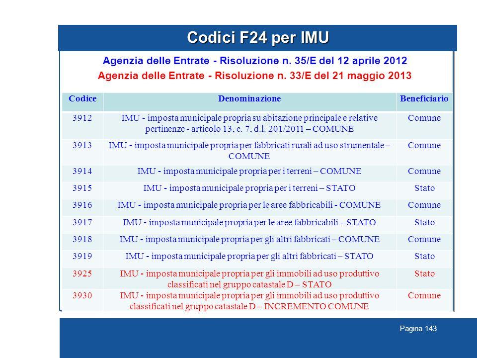 Pagina 143 Codici F24 per IMU Agenzia delle Entrate - Risoluzione n.