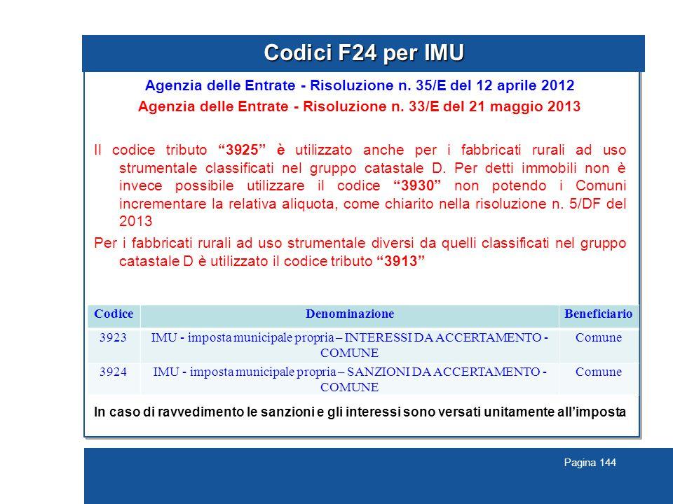 Pagina 144 Codici F24 per IMU Agenzia delle Entrate - Risoluzione n.