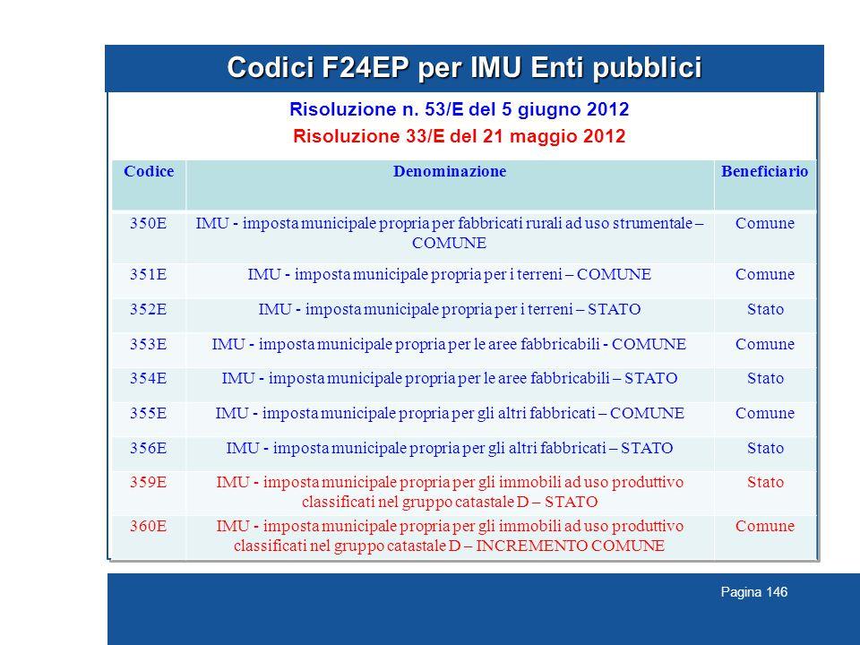 Pagina 146 Codici F24EP per IMU Enti pubblici Risoluzione n.