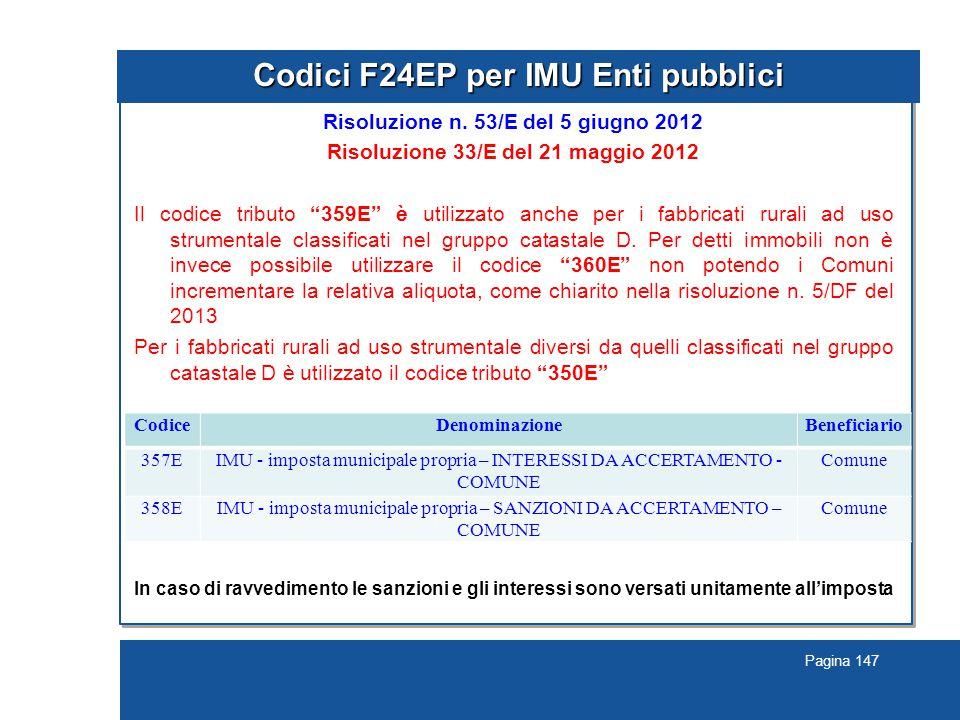 Pagina 147 Codici F24EP per IMU Enti pubblici Risoluzione n.