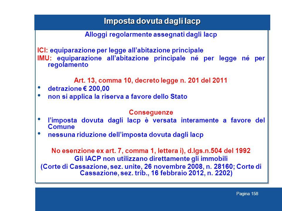 Pagina 158 Imposta dovuta dagli Iacp Alloggi regolarmente assegnati dagli Iacp ICI: equiparazione per legge all'abitazione principale IMU: equiparazione all'abitazione principale né per legge né per regolamento Art.