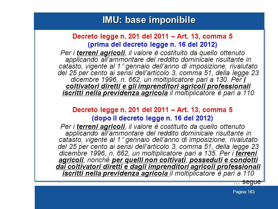 Pagina 163 IMU: base imponibile Decreto legge n.201 del 2011 – Art.