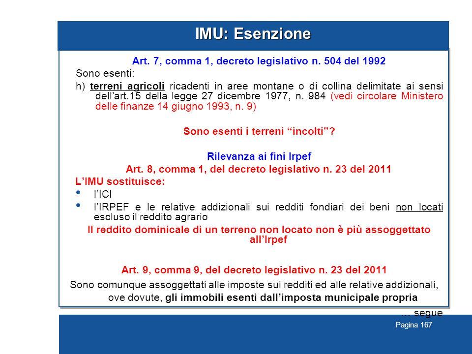 Pagina 167 IMU: Esenzione Art.7, comma 1, decreto legislativo n.