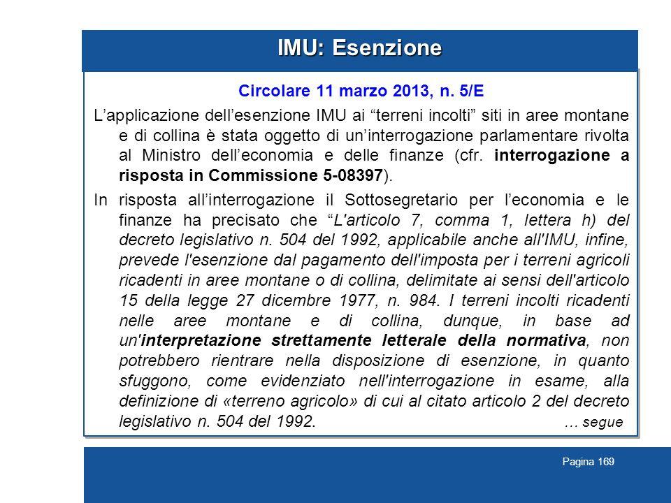 Pagina 169 IMU: Esenzione Circolare 11 marzo 2013, n.