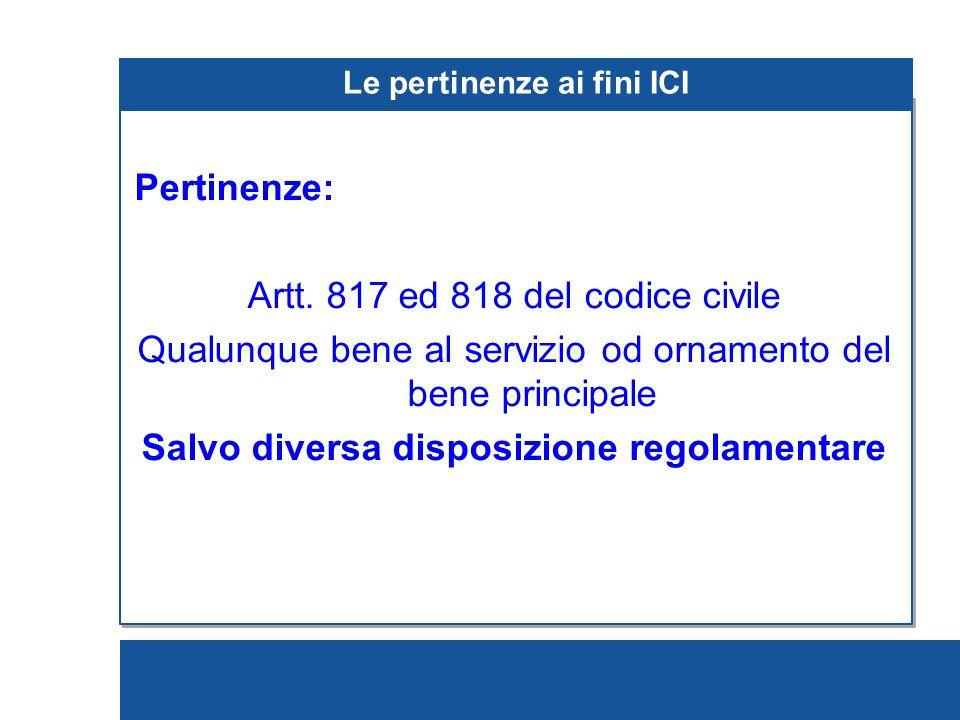 Le pertinenze ai fini ICI Pertinenze: Artt.