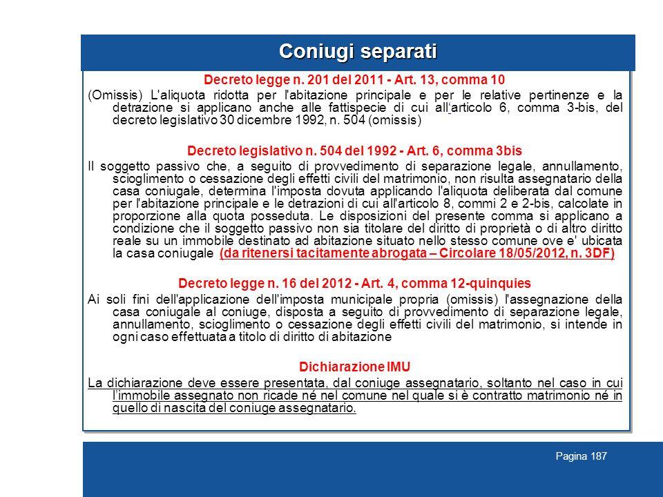 Pagina 187 Coniugi separati Decreto legge n.201 del 2011 - Art.