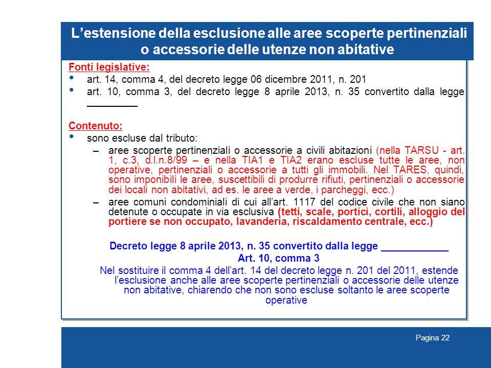 Pagina 22 L'estensione della esclusione alle aree scoperte pertinenziali o accessorie delle utenze non abitative Fonti legislative: art.