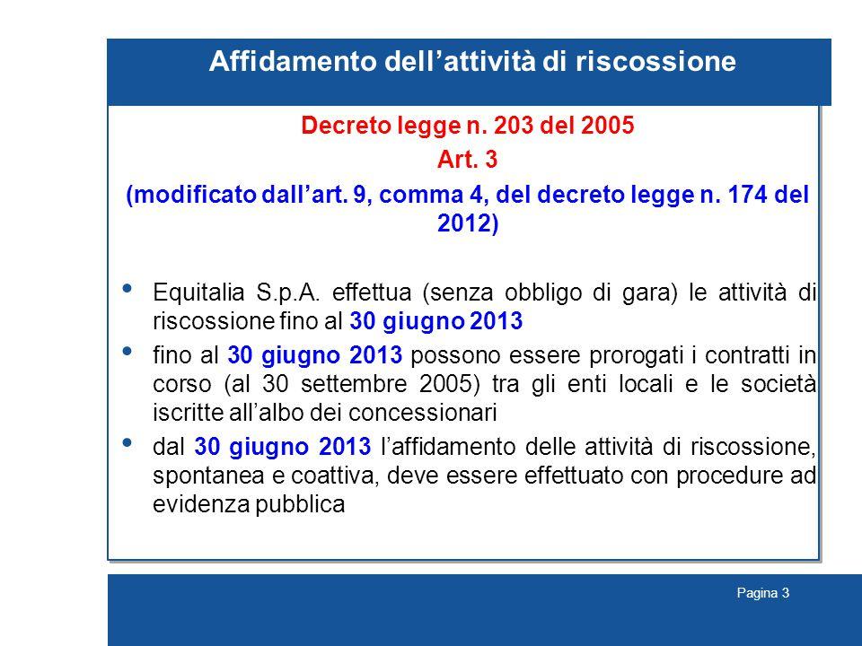 Pagina 3 Affidamento dell'attività di riscossione Decreto legge n.
