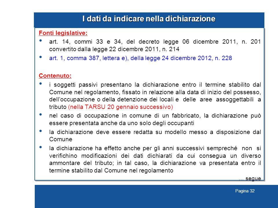 Pagina 32 I dati da indicare nella dichiarazione Fonti legislative: art.