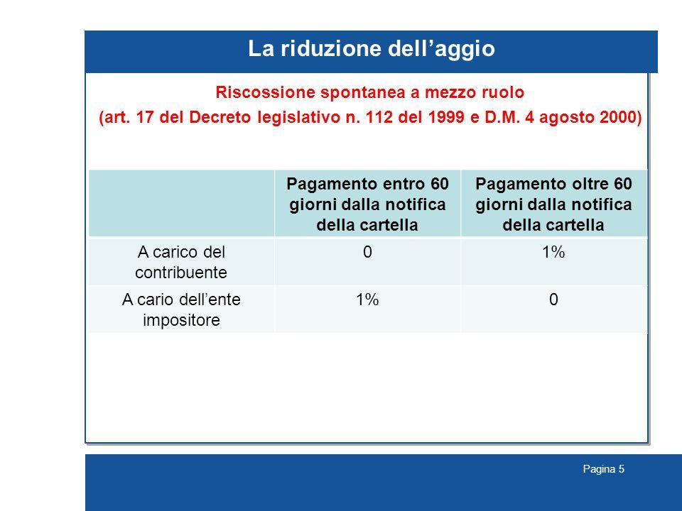 Pagina 5 La riduzione dell'aggio Riscossione spontanea a mezzo ruolo (art.