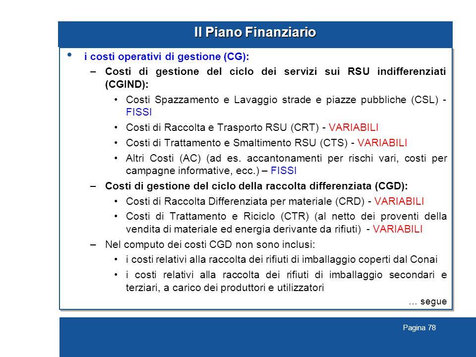 Pagina 78 Il Piano Finanziario i costi operativi di gestione (CG): –Costi di gestione del ciclo dei servizi sui RSU indifferenziati (CGIND): Costi Spazzamento e Lavaggio strade e piazze pubbliche (CSL) - FISSI Costi di Raccolta e Trasporto RSU (CRT) - VARIABILI Costi di Trattamento e Smaltimento RSU (CTS) - VARIABILI Altri Costi (AC) (ad es.