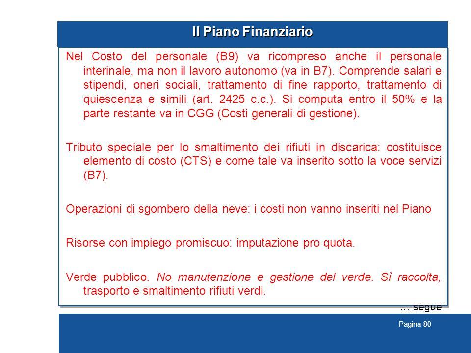 Pagina 80 Il Piano Finanziario Nel Costo del personale (B9) va ricompreso anche il personale interinale, ma non il lavoro autonomo (va in B7).