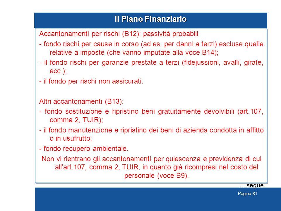 Pagina 81 Il Piano Finanziario Accantonamenti per rischi (B12): passività probabili - fondo rischi per cause in corso (ad es.